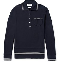 Thom Browne Mercerised Cotton Pique Polo Shirt Midnight Blue