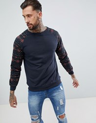 Soul Star Aztec Print Sleeve Crew Neck Sweat Navy