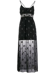 Amiri Floral Beaded Layered Dress Black
