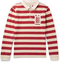 Kent And Curwen Appliqued Striped Cotton Jersey Polo Shirt Red