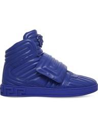 Versace Quilted Leather High Top Trainers Blue