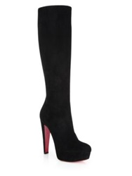 Christian Louboutin Lady Suede Knee High Platform Boots Black