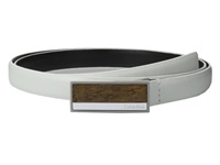 Calvin Klein 20Mm Feather Edge Semi Shine Leather Plaque Buckle With Inlay And Powder Coated Logo Belt White Women's Belts