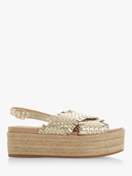 Bertie Kalette High Flatform Sandals Gold Leather