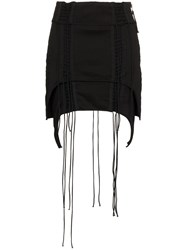 Helmut Lang Aviator Asymmetric Mini Skirt Black