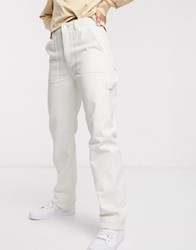 Weekday Worker Jeans With Pockets In Ecru Cream