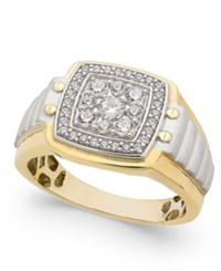 Macy's Men's Diamond Two Tone Cluster Ring 3 4 Ct. T.W. In 10K Gold And White Gold