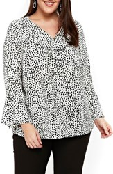 Evans Plus Size Women's Print Ruffle Neck Bell Sleeve Top