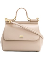Dolce And Gabbana Sicily Tote Women Calf Leather One Size Nude Neutrals