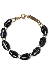 Isabel Marant Gold Tone Shell And Ceramic Bead Bracelet Black