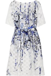 Lela Rose Fil Coupe Organza Dress Blue