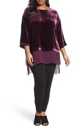 Eileen Fisher Plus Size Women's Chiffon Hem Velvet Top