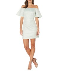 Laundry By Shelli Segal Dot Motif Off The Shoulder Sheath Dress Aqua Green