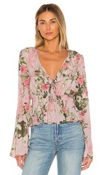Bcbgeneration Bow Front Long Sleeve Top In Pink. Multi