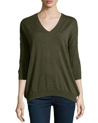 Minnie Rose Long Sleeve Cotton V Neck Everday Top Forest Hea