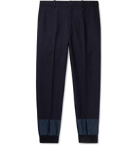 Alexander Mcqueen Navy Tapered Shell Trimmed Virgin Wool Trousers Blue
