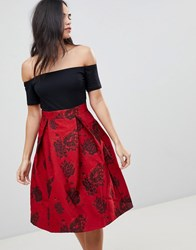 Ax Paris Off Shoulder Skater Dress With Printed Skirt Black Red Multi