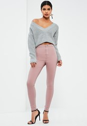 Missguided Pink High Waisted Skinny Jeans Mauve