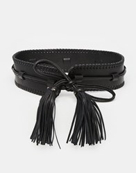 Becksondergaard Becksondergaard Leather Waist Belt With Oversized Tassels Black