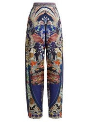 Camilla Darling's Destiny Print Silk Wide Leg Trousers Navy Multi