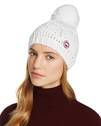 Canada Goose Merino Wool Beanie With Oversized Pom Pom White