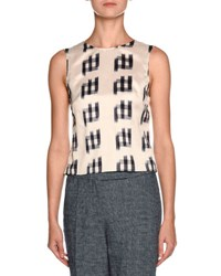 Giorgio Armani Shantung Sleeveless Tie Back Blouse White Black Multi Colors