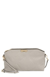 Burberry 'Small Chichester' Check Embossed Leather Crossbody Bag Pale Grey