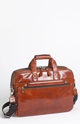 Bosca Double Compartment Leather Briefcase Brown