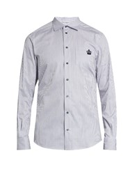 Dolce And Gabbana Striped Button Cuff Cotton Shirt Grey