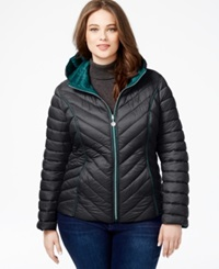 Nautica Plus Size Reversible Packable Puffer Coat Chrome Ocean Depth