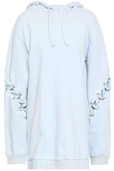 Each X Other Lace Up French Cotton Terry Hooded Sweatshirt Sky Blue