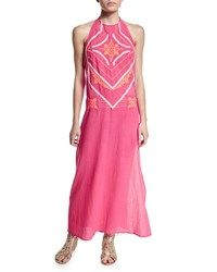 Shoshanna Embroidered Front Halter Maxi Dress Fuchsia Coral