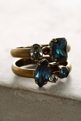 Anthropologie Wrapped Crystal Ring Set Navy