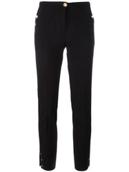 Class Roberto Cavalli Pearled Trim Slim Fit Pants Women Polyester Spandex Elastane Acetate Polyimide 46 Black
