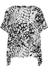 Diane Von Furstenberg New Hanky Printed Silk Top Black