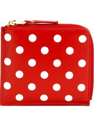 Comme Des Garcons Polka Dot Zip Wallet Red