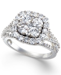 Macy's Certified Diamond Halo Cluster Engagement Ring In 14K White Gold 2 Ct. T.W.