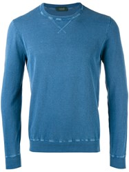 Zanone Crew Neck Jumper Blue