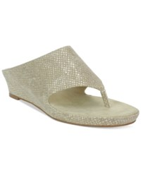 Tahari Mindy Wedge Thong Sandals Women's Shoes Natural Gold Python