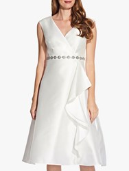 Adrianna Papell Tea Length Mikado Dress Ivory
