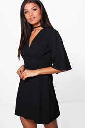 Boohoo Pleat Top Kimono Sleeve Skater Dress Black