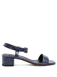 Maryam Nassir Zadeh Sophie Crocodile Effect Leather Sandals Navy