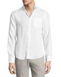 Neiman Marcus Linen Long Sleeve Sport Shirt White