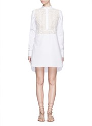 Valentino Lace Panel Cotton Poplin High Low Shirt Dress White