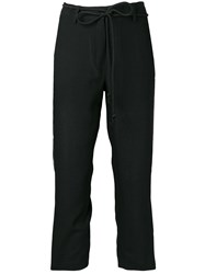Ann Demeulemeester Embroidered Side Panel Trousers Black
