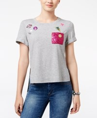 Trolls By Dreamworks Juniors' Poppy Sequin Pocket Graphic T Shirt Grey