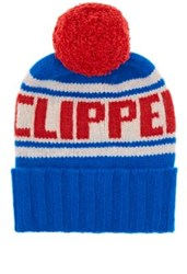 The Elder Statesman X Nba Women's La Clippers Cashmere Pom Pom Beanie Blue