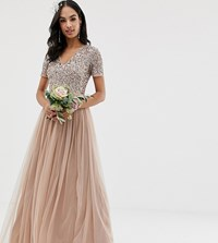 Maya Bridesmaid V Neck Maxi Tulle Dress With Tonal Delicate Sequins In Taupe Blush Brown