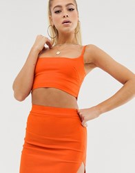 Vesper Co Ord Crop Top In Orange