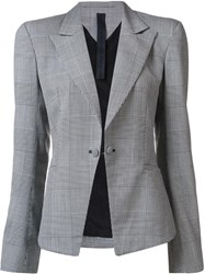 Gareth Pugh Plaid Single Breasted Blazer Black